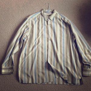 Tommy Bahama men's 100% silk button down tan/blue